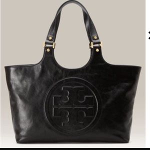 Tory Burch Genuine Black Leather Bombe Tote Bag