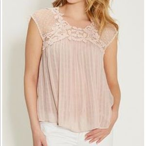 Maurice's Lace Front Tunic Top-Pale Blush