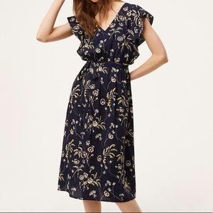 LOFT Petite Floral Flutter Midi Dress