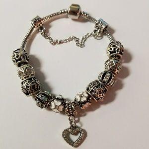 Heart Crystals Charm Bracelet w Swarovski Elements