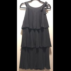 RED Valentino Black Ruffle Pleat Bow Dress Size 44