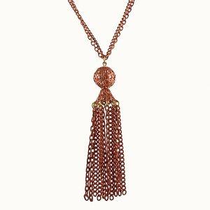 Vintage Brass Long Golden Tassel Necklace