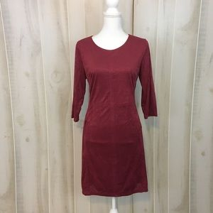 Cato Eyelet Faux Suede Burgundy Winter Shift Dress