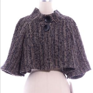 Theory Black Brown Knit Cropped Jacket