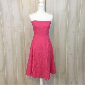 J. Crew Strapless Pink Cotton Party Midi Dress