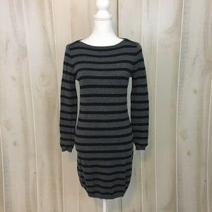 Loft Grey & Navy Striped Long Sleeve Sweater Dress