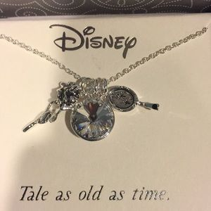 Beauty and the beast three charm necklace