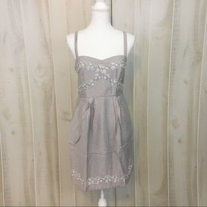 Do & Be Lavender Grey Lace Detail Cotton Dress