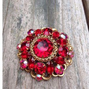 Red Aurora boreales brooch