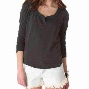Free People Patches of Lace Henley CHARCOAL