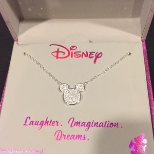 Mickey Mouse silver and crystal necklace