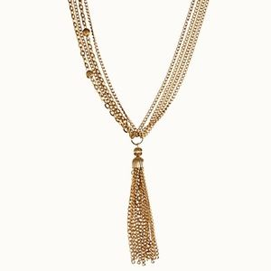 Vintage Gold Long Chain & Bead Tassel Necklace