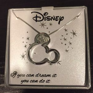 Mickey and diamond ear necklace