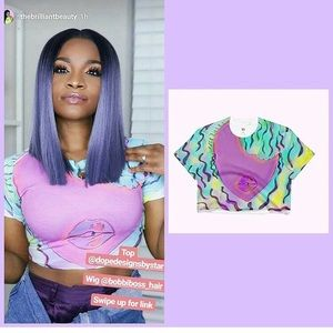 Pinky crop worn by the brilliant beauty