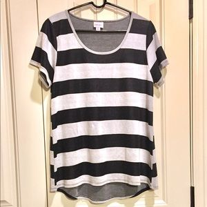LuLaRoe Large Classic T black stripes