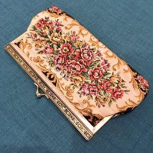 Vintage Needlepoint Jacquard Floral Clutch