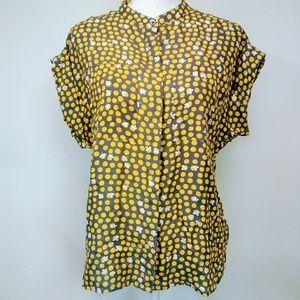 CAbi #183 Small Polka Dot Yellow Silk Blouse
