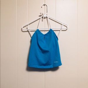 2000s ADIDAS BABY BLUE CROPPED HALTER TANK