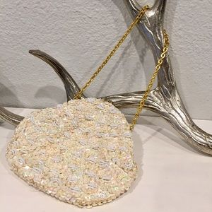 Vintage hand beaded clamshell evening bag
