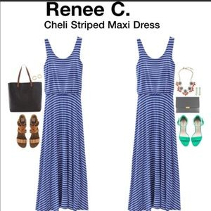 Renee C blue & white stripe Cheli maxi dress SZ L