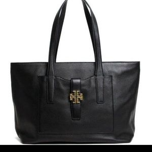 Tory Burch Black Genuine Leather Meyer Tote Bag