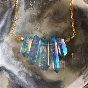 Blue Rainbow Quartz Necklace