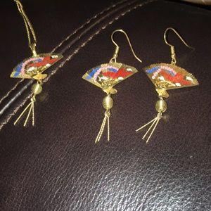 Vintage Chinese Folding Fan Necklace & Earring Set