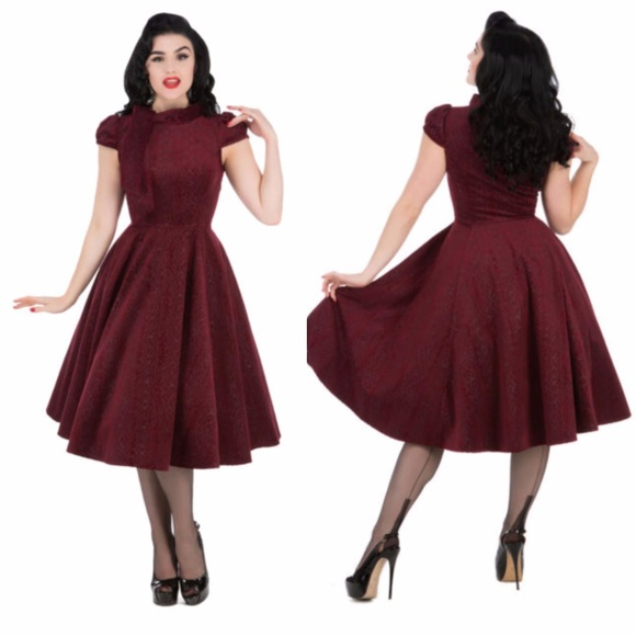 Hearts And Roses Dresses Hearts Roses London Burgundy Brocade