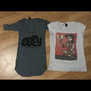 Two OBEY shirts
