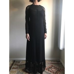 [zara] mesh and lace long sleeve black maxi dress