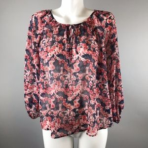 Joie Rochan 100% Silk Floral Blouse Pink  XS