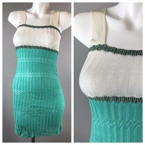 MISSONI Mini Decollete Knitted Tank Dress Chevron