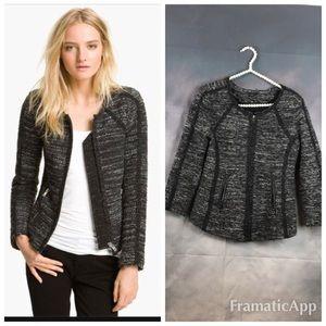 Ann Taylor Black Grey Tweed Texture Zip Jacket