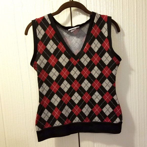 50% off Heart of Haute Sweaters - Red and Black Argyle Sweater ...