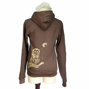 Brown Coffee Owl Silkscreen Unisex Zip Hoodie NWOT
