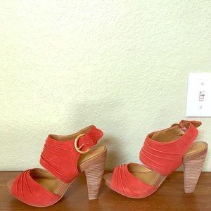 Size 9, Seychelles orange suede gypsy heels.