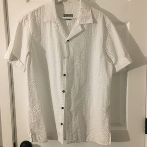Zara Men's Textured Button Up: White