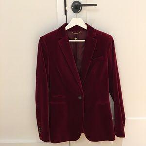 burgundy Massimo Dutti handmade velvet suit