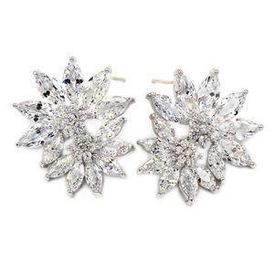 Pretty Flower Fairy Crystal Silver Earrings