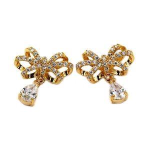 Noble bowknot crystal pendant earrings