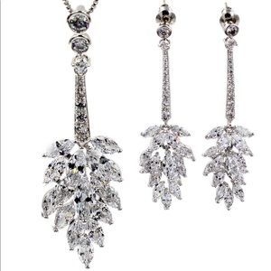 Fashion crystal tassel silver necklace earring set