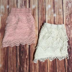 Tiered crochet shorts.