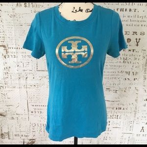 Blue Tory Burch Baby Tee with Gold Metallic Logo L