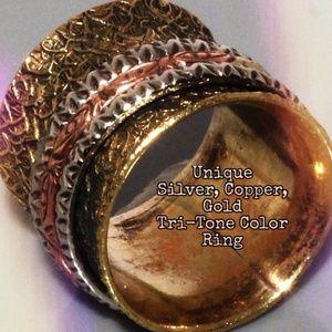 Unique Tri-Tone Copper, Gold, Silver Wide Ring NEW