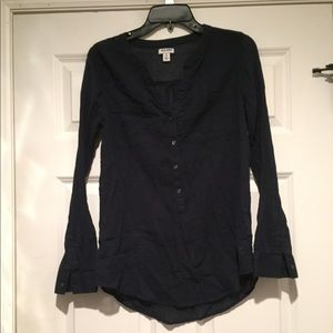 Navy Half Button up Blouse