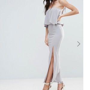 MissGuided Textured Crepe Strapless Dress