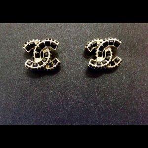 New Black Crystal & CZ Gold Tone Stud Earrings!