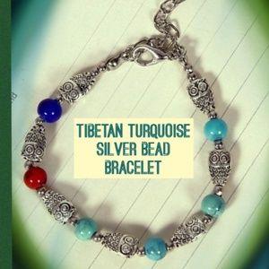 Tibetan Silver Owl Turquoise Bead Bracelet NEW