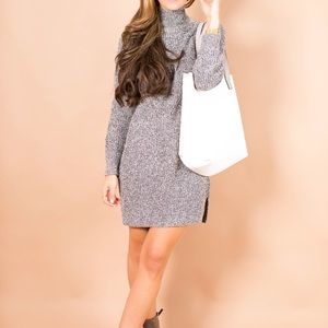 Topshop Grey Funnel Neck Sweater Dress