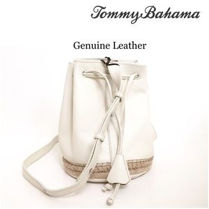 Tommy Bahama Leather Espadrille Bucket Bag